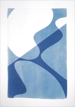 Mid-Century Composition of Retro Shapes, Minimal White and Blue Curves Monotype