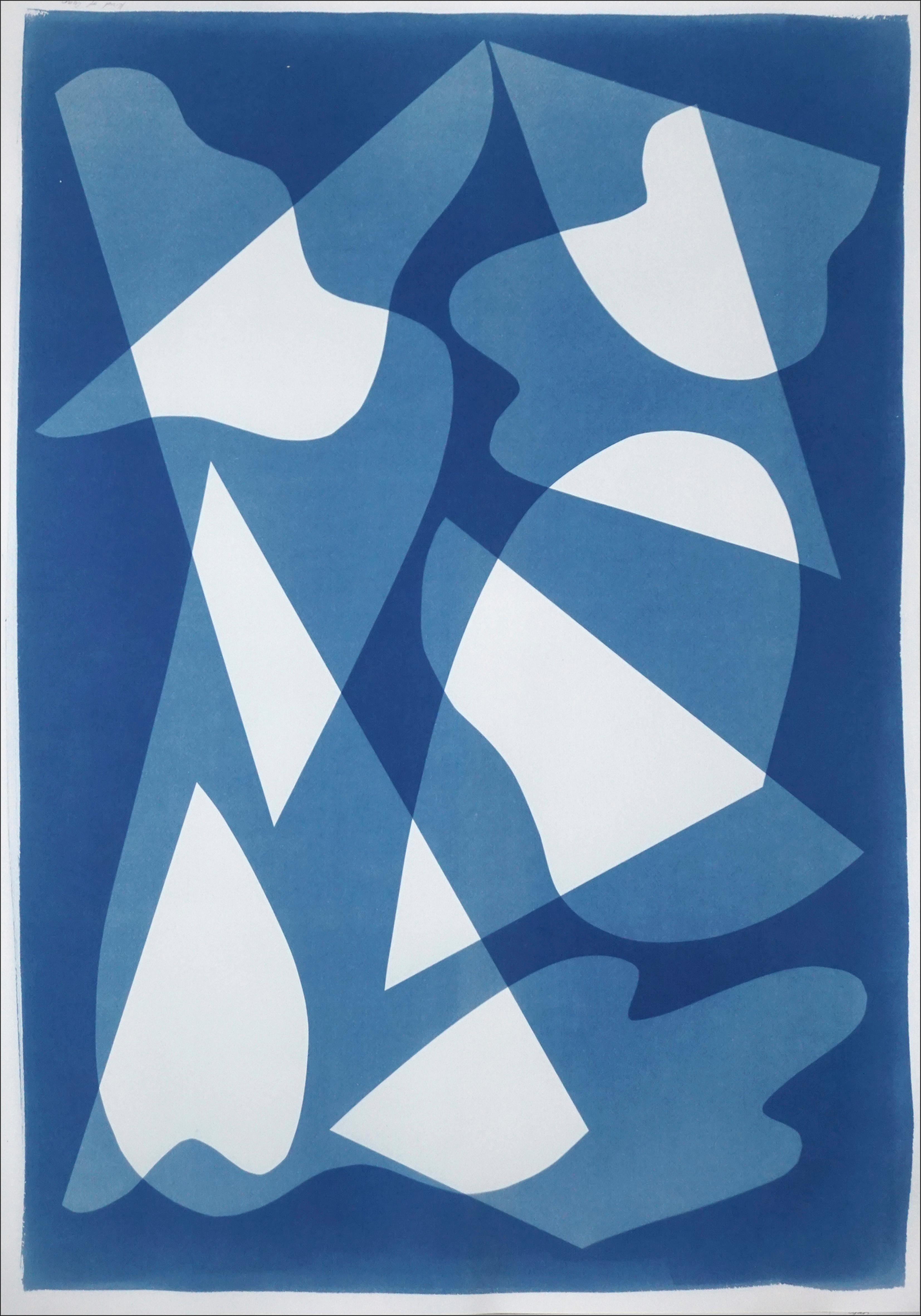 Mirrors Under Water, Handmade Unique Monotype Cyanotype on Blue Tones, Paper