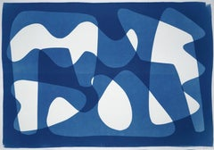 Modern Mid-Century Cutout Shapes in Blue Tones, Original Cyanotype, Abstract