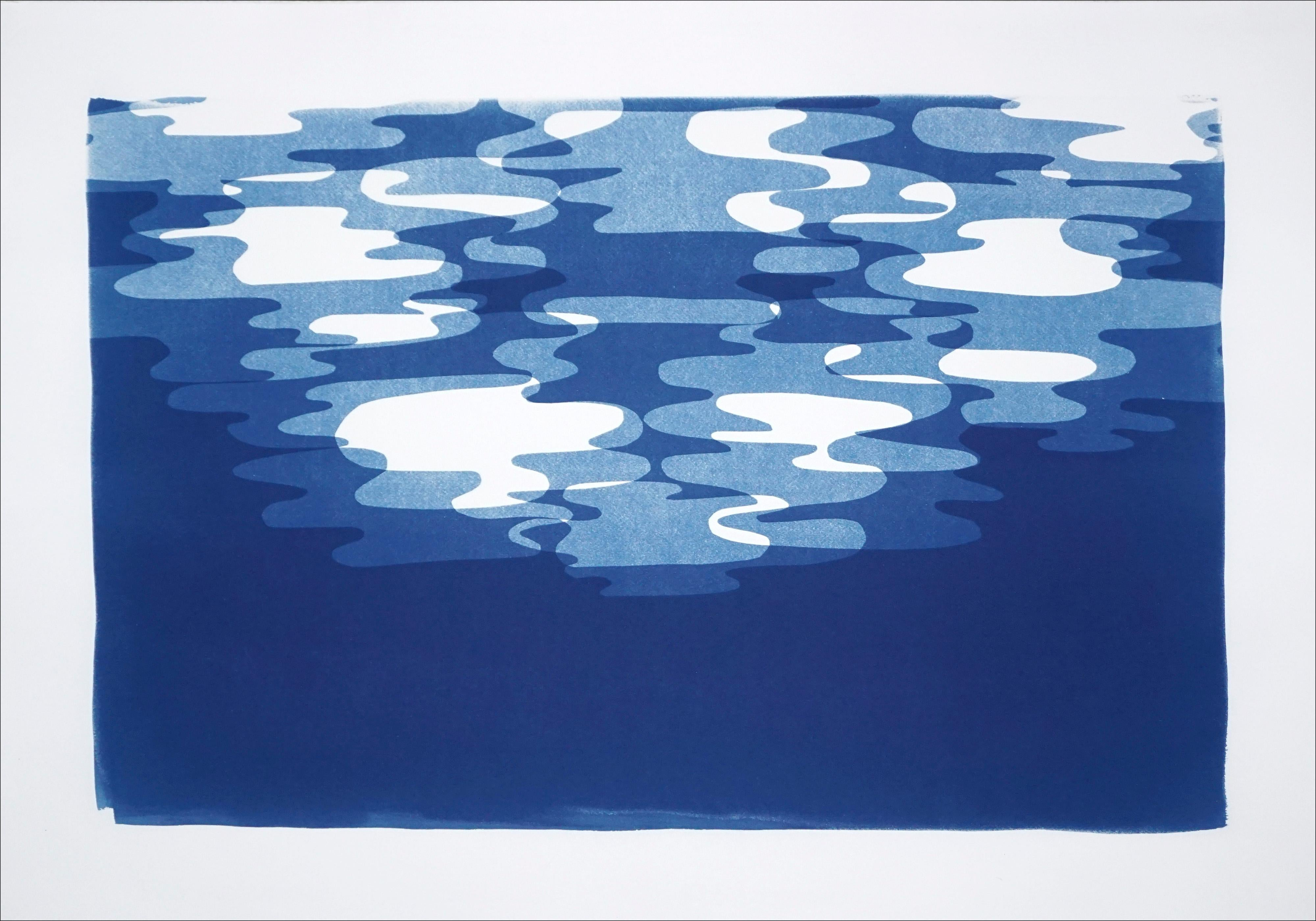 Monotype in Blue Tones of Moonlight Reflection Contours, White Watercolor Paper