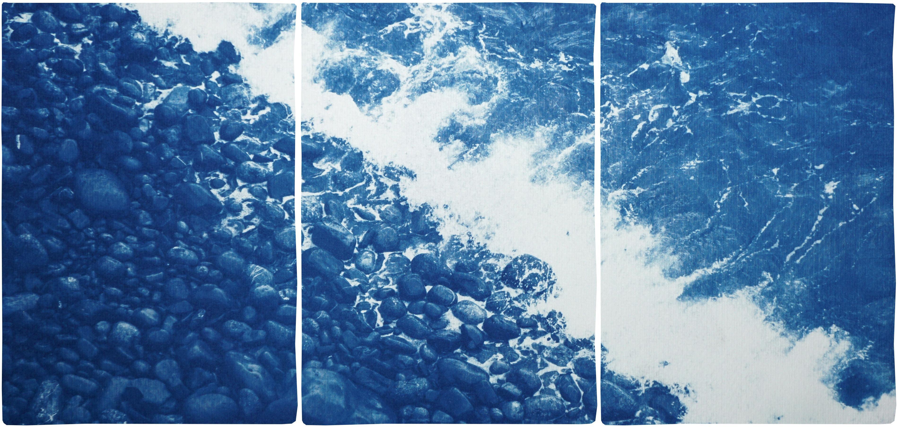 Nautical Triptych of British Pebble Beach, Handmade Cyanotype, Watercolor Paper