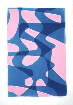 Pink and Blue Retro Shapes, Abstract Mid-Century Shapes, Acrylic on Cyanotype