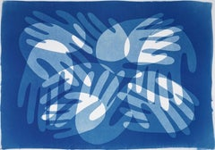 Poppy Cool Hand Stack, Modern Monotype in Blue on Paper, Multi Shades Layers