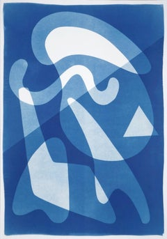 Retro Futuristic Shapes in Blue Tones, Extra Large Cyanotype Monotype, Smooth