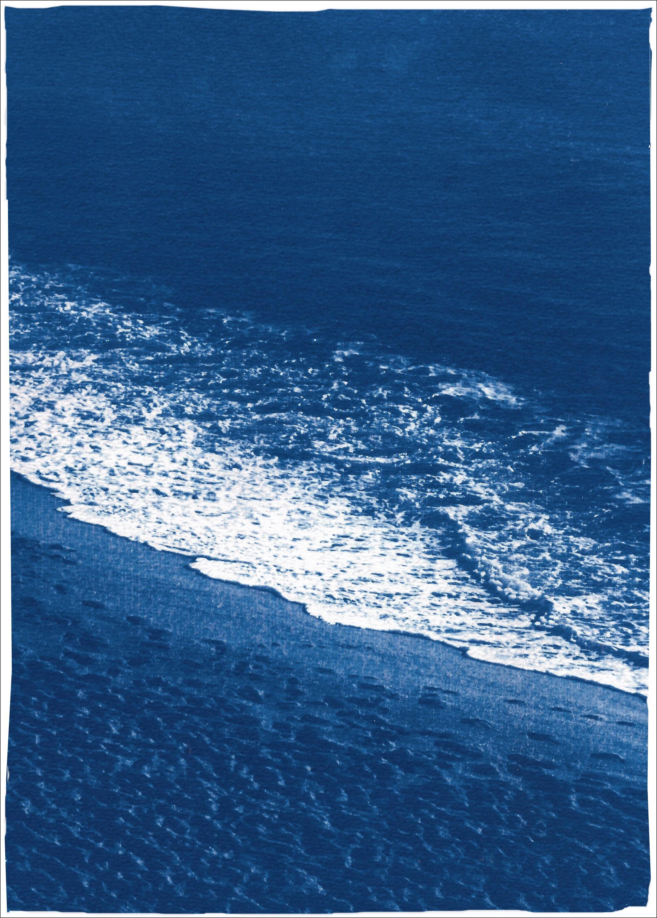 Sandy Shore with Foam, Nautical Cyanotype Print on Watercolor Paper, Beach Coast