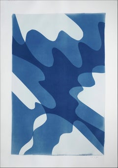 Shaky Shadows, Handmade Monotype of Minimal Abstract Shapes and Layers in Blue