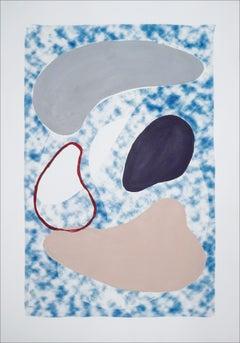 Skin Colors on Smokey Blue, Mixed Media Acrylic Painting on Cyanotype, Modern