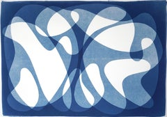 Two Bodies Back to Back, Blue Tones Mid-Century Shapes, Avantgarde Style Print