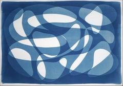 Underwater Whirlpool, Blue Tones Horizontal Abstract Monotype Paper, Cyanotype