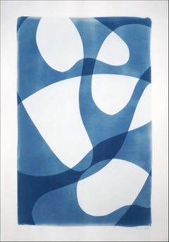 Unique Photogram of Ghostly Pool Shapes, Blue and White Minimal Cyanotype, Paper