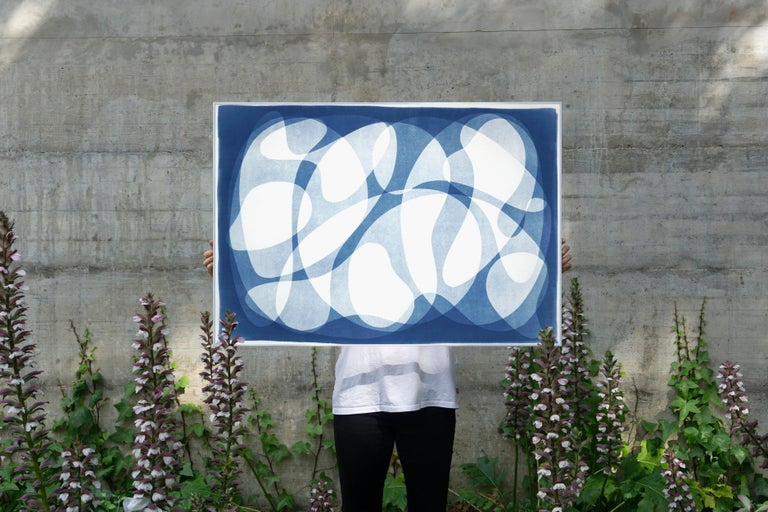 Urban Curves and Forms on Paper, Handmade Cyanotype Print in White and Blue 2021 - Photograph by Kind of Cyan