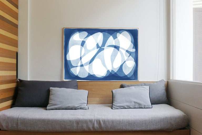 Urban Curves and Forms on Paper, Handmade Cyanotype Print in White and Blue 2021 - Contemporary Photograph by Kind of Cyan