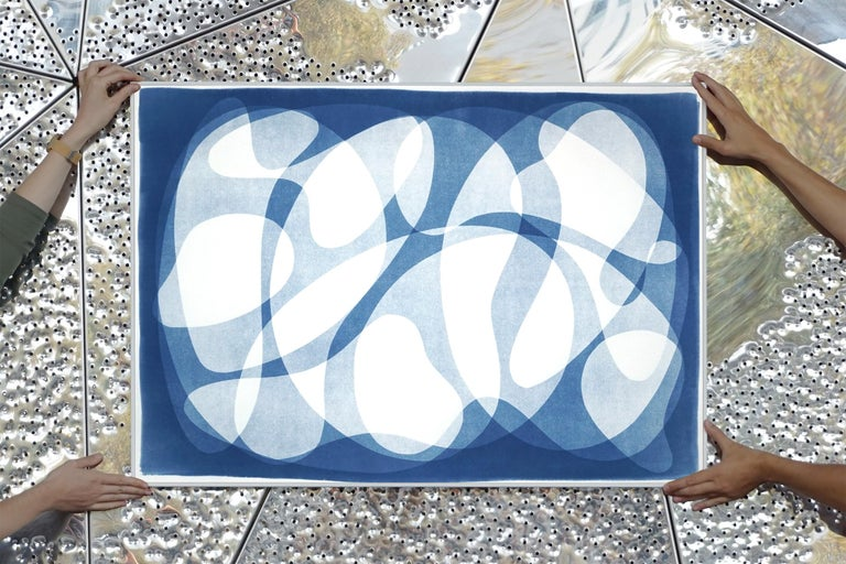 Urban Curves and Forms on Paper, Handmade Cyanotype Print in White and Blue 2021 4