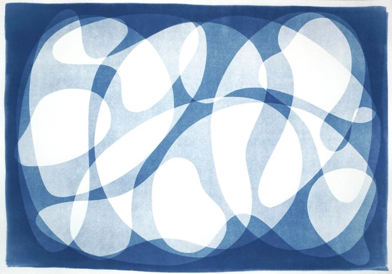 Kind of Cyan Abstract Photograph - Urban Curves and Forms on Paper, Handmade Cyanotype Print in White and Blue 2021
