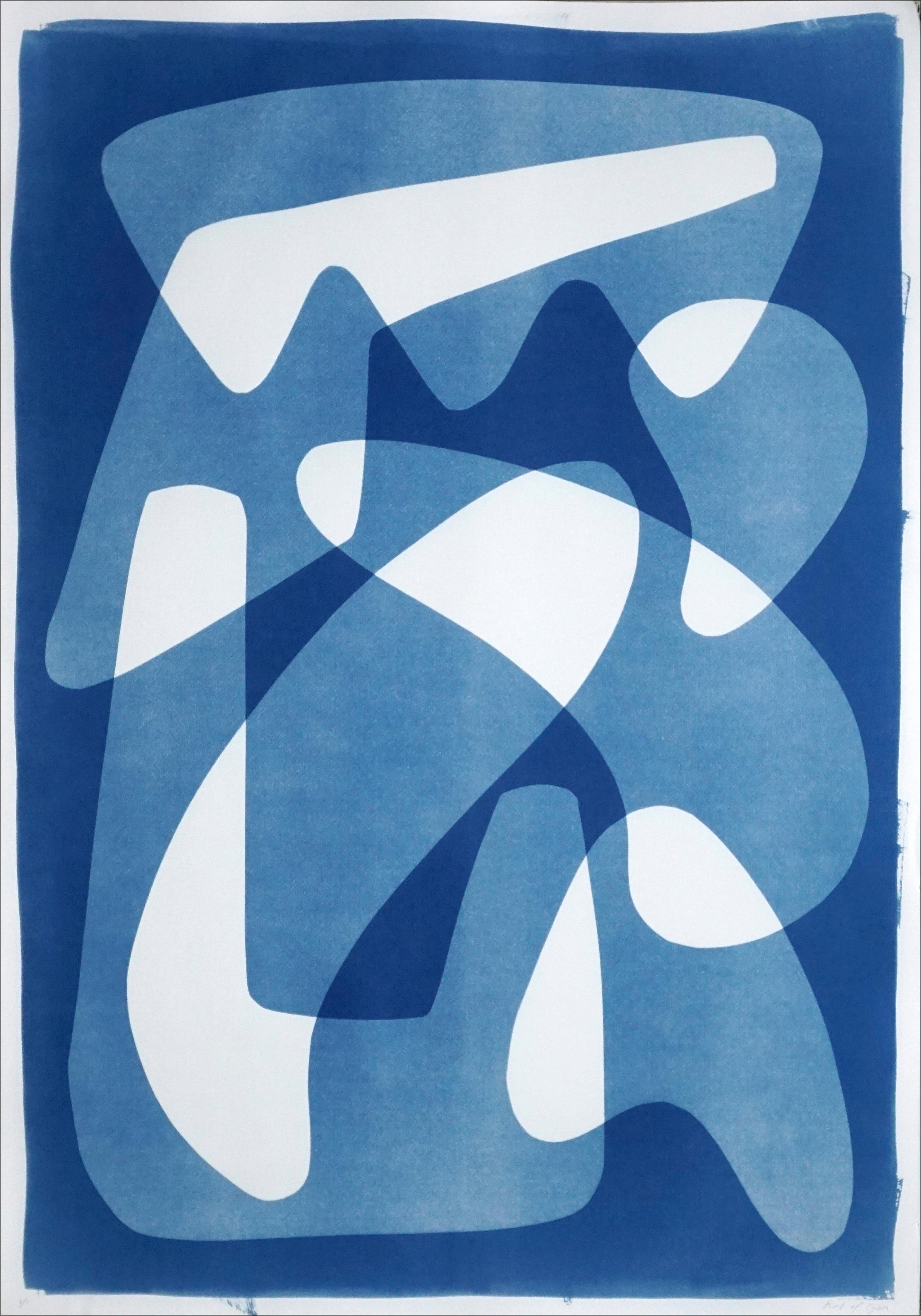 Vanguard Shapes and Shadows, White and Blue Monotype on Paper, Abstract Forms