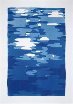 Vertical Geometric Water Reflections , Original Cutout Monotype in Blue Tones