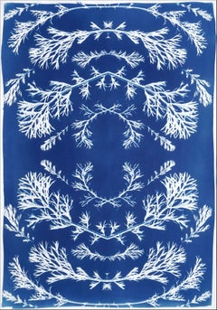 Vintage Pressed Flowers Composition in Blue, Botanical Cyanotype on Paper, 2021