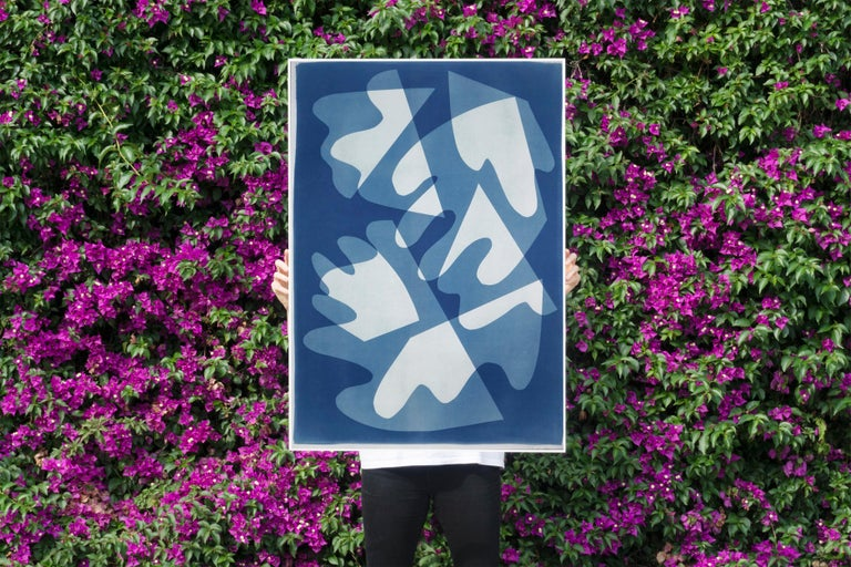 Walking on Glass, Unique Monotype, Cutouts Mid-century Shapes in Blue Tones 2021 - Photograph by Kind of Cyan