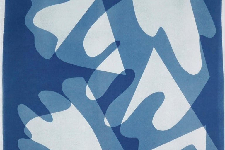 Walking on Glass, Unique Monotype, Cutouts Mid-century Shapes in Blue Tones 2021 For Sale 1