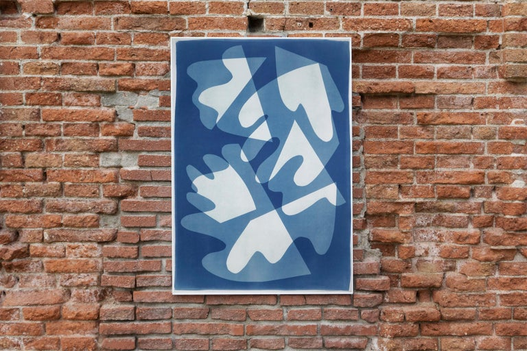 Walking on Glass, Unique Monotype, Cutouts Mid-century Shapes in Blue Tones 2021 For Sale 2