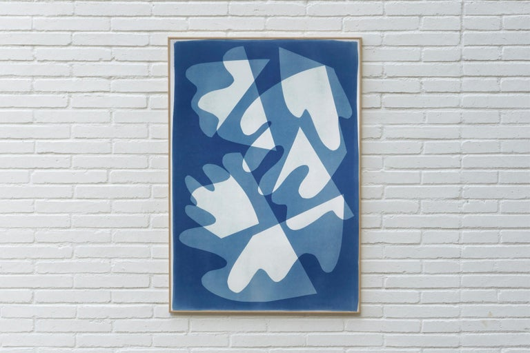 Walking on Glass, Unique Monotype, Cutouts Mid-century Shapes in Blue Tones 2021 For Sale 3