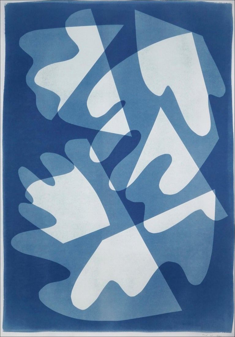 Kind of Cyan Abstract Photograph - Walking on Glass, Unique Monotype, Cutouts Mid-century Shapes in Blue Tones 2021