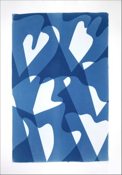 Wind over Waters, Blue and White Monotype, Abstract Modern Shapes and Layers