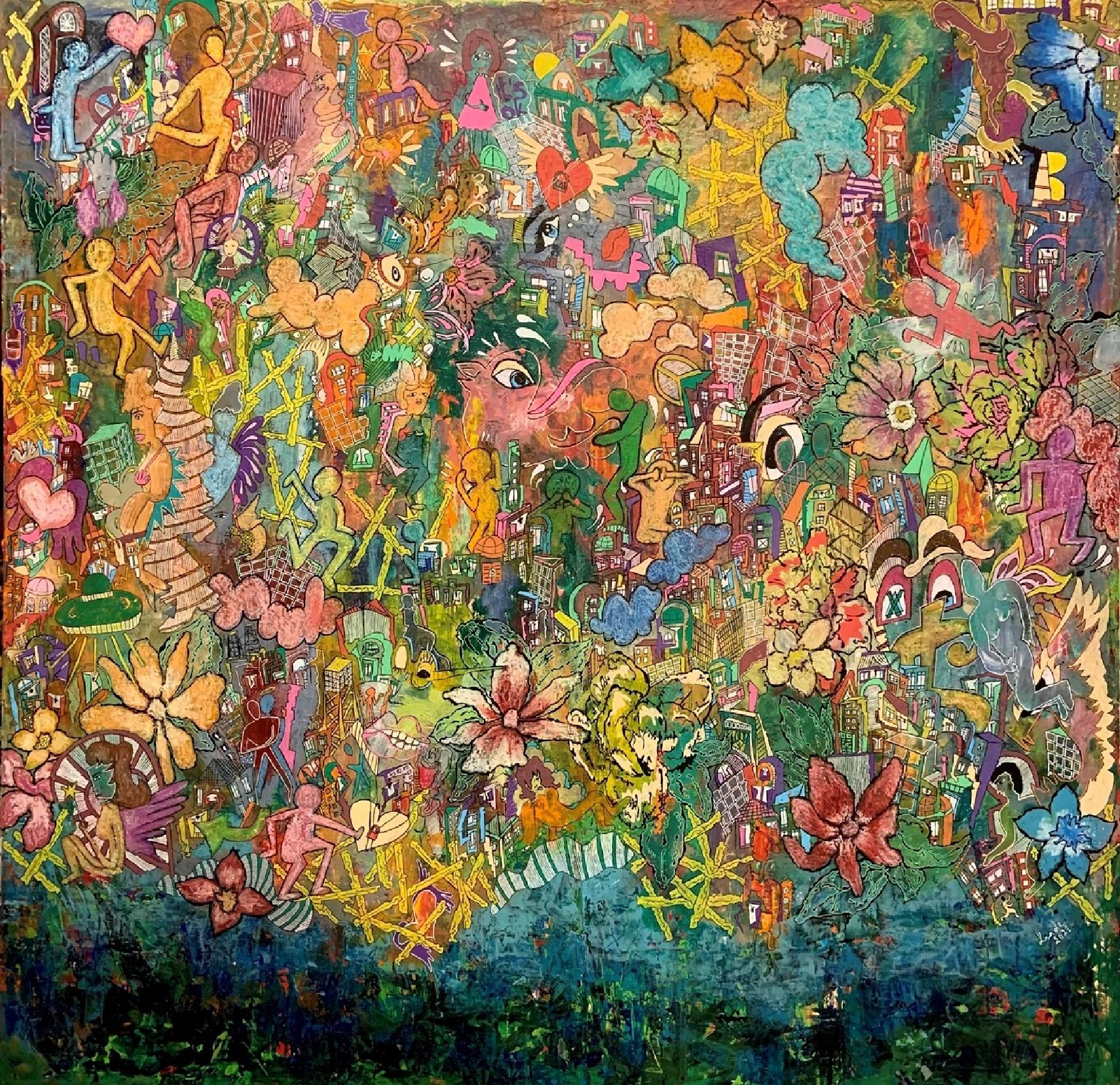"""""""Jungle Fever"""" Painting 39"""" x 39"""" inch by Kinda Adly"""
