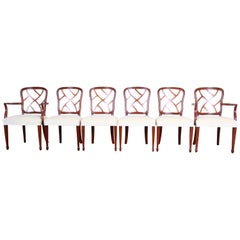Kindel Furniture Carved Mahogany Formal Dining Chairs, Set of Six