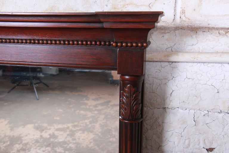 Kindel Furniture Carved Mahogany Framed Wall Mirror In Good Condition For Sale In South Bend, IN