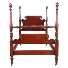 Kindel Furniture Carved Mahogany Twin Size Poster Bed