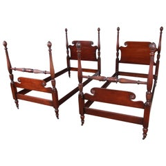 Kindel Furniture Carved Mahogany Twin Size Poster Beds, Pair