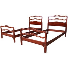 Kindel Furniture Chippendale Carved Mahogany Twin Beds, Pair