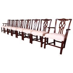 Kindel Furniture Chippendale Mahogany Dining Chairs, Set of Eight