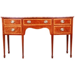 Kindel Furniture Georgian Bow Front Banded Mahogany Sideboard Credenza