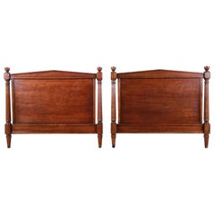 Kindel Furniture Neoclassical Walnut Twin Headboards, Pair