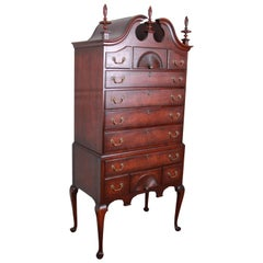 Kindel Furniture Queen Anne Mahogany Eleven-Drawer Highboy Dresser Chest
