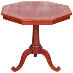 Kindel Furniture Regency Banded Mahogany Pedestal Tea Table