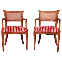 Kindel Furniture Regency Cane Back Armchairs, Pair