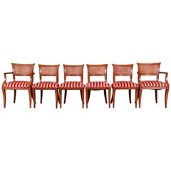 Kindel Furniture Regency Cane Back Dining Chairs, Set of Six