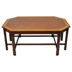 Kindel Mahogany Kent English Georgian Satinwood Banded Inlay 8 Leg Coffee Table