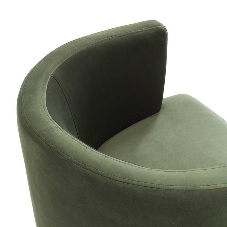 Italian Kindly Armchair Upholstered with Olive Green or Turquoise Velvet Fabric For Sale