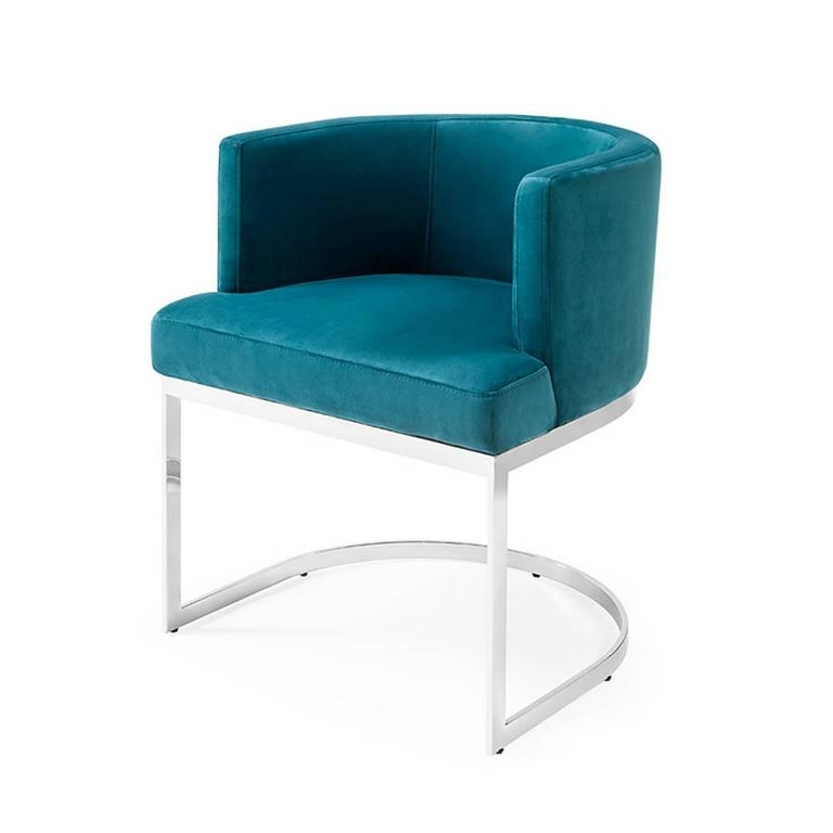 Gilt Kindly Armchair Upholstered with Olive Green or Turquoise Velvet Fabric For Sale