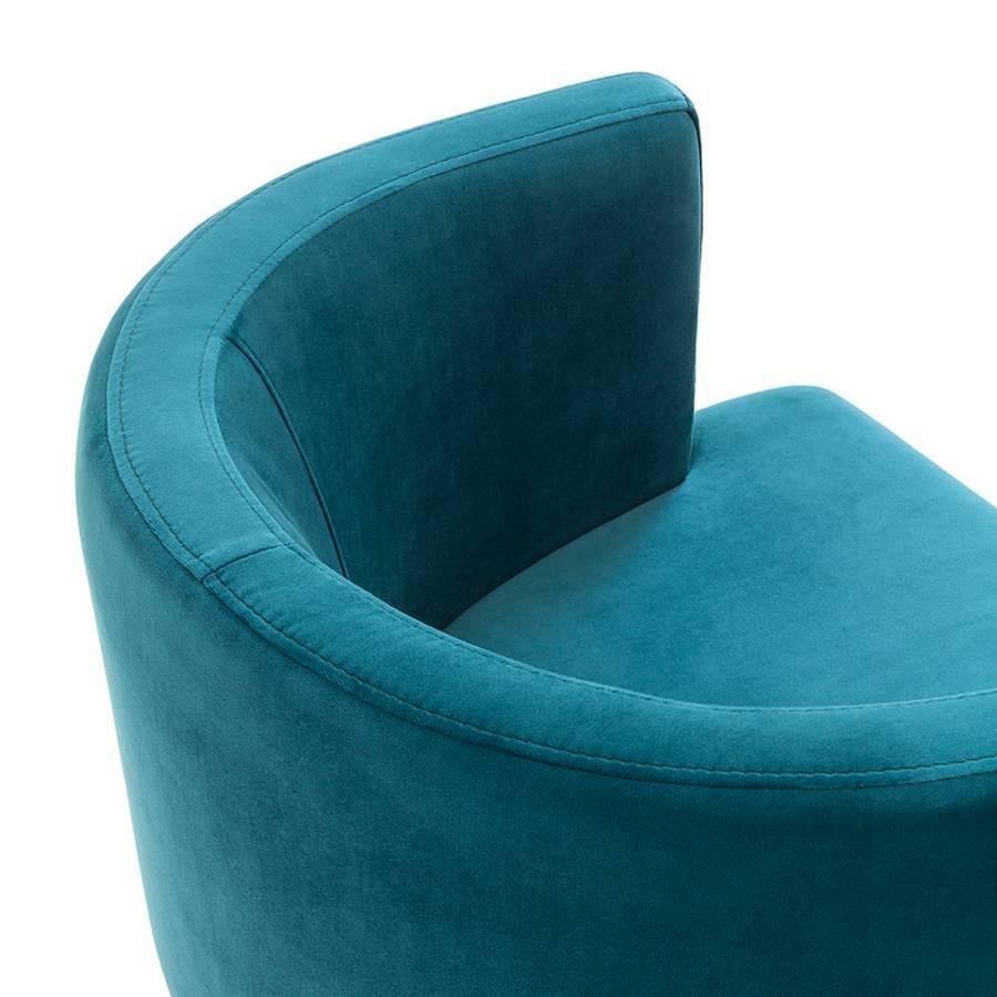 Contemporary Kindly Armchair Upholstered With Olive Green Or Turquoise  Velvet Fabric For Sale