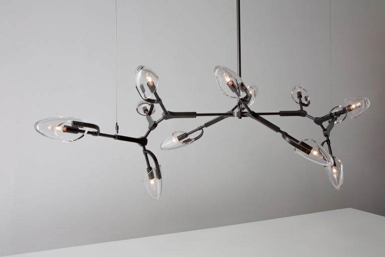 Lacquered Kinesis '1.12' Chandelier in Blackened Brass and Clear Glass by Matthew Fairbank For Sale
