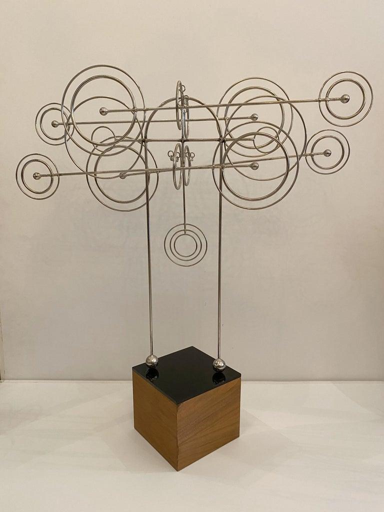 Rare 1970s Joseph Burlini metal wire abstract kinetic sculpture.