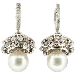 Kinetic 'Moving Chandelier' Pearl Earrings with Diamonds in 18 Karat Gold
