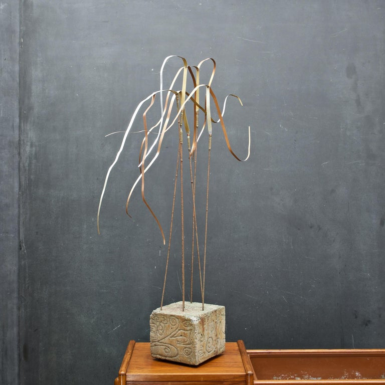Mid-Century Modern Kinetic Reeds Sculpture Incised Concrete Base Vintage 1950s Studio Craft For Sale