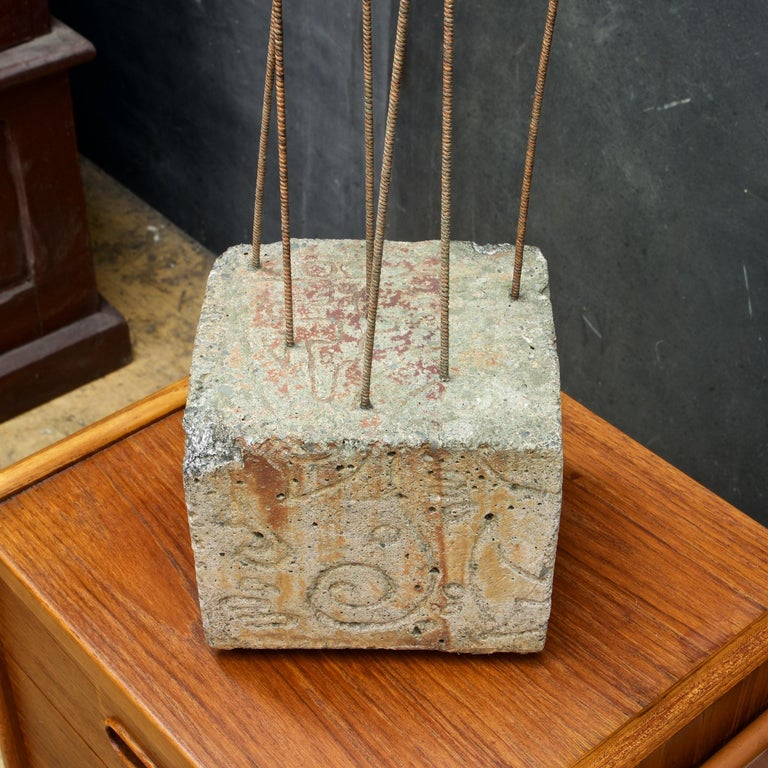 Kinetic Reeds Sculpture Incised Concrete Base Vintage 1950s Studio Craft In Fair Condition For Sale In Washington, DC