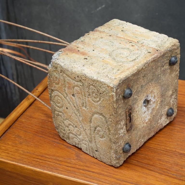 Mid-20th Century Kinetic Reeds Sculpture Incised Concrete Base Vintage 1950s Studio Craft For Sale